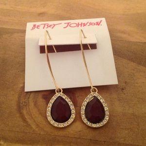Betsey Johnson Gold Tone Teardrop Earrings Purple